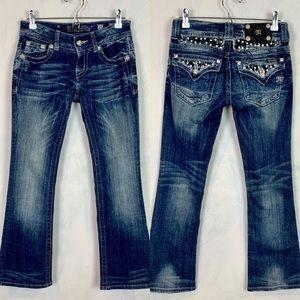 Miss Me Jeans Rhinestone Flap Pocket Boot Jeans